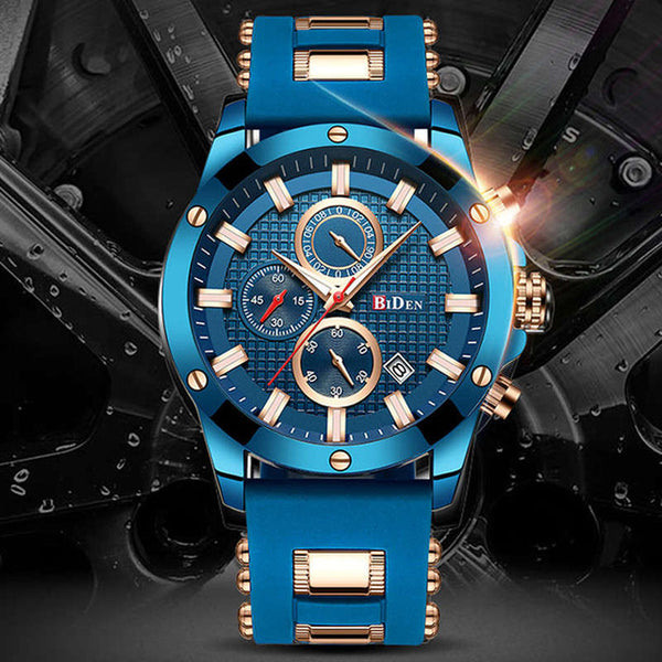 BIDEN Watch Luxury Blue Golden Sport Men Watch Top Brand Fashion Stainless Steel Casual Male's Wristwatch Waterproof Watches