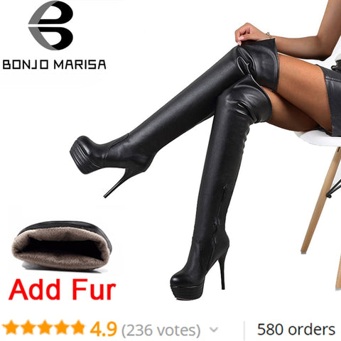 BONJOMARISA Plus Size 32-46 Fashion Over Knee Thigh High Boots Women Winter Spring Sexy Thin High Heels Platform Shoes Woman