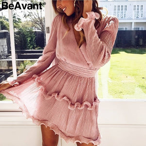 BeAvant Elegant ruffle women white dress summer 2019 Long sleeve short party dresses causal V neck high waist dress vestidos