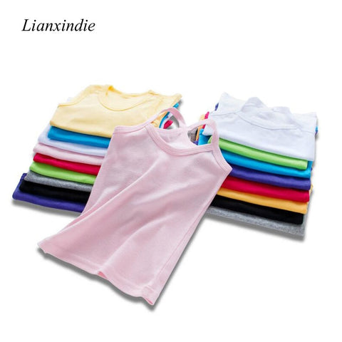 Boys Girls Solid Candy Colors Summer T-shirts Children Sleeveless Beach Kids 100% Cotton Underwear For 4 6 8 10 12 14 Years