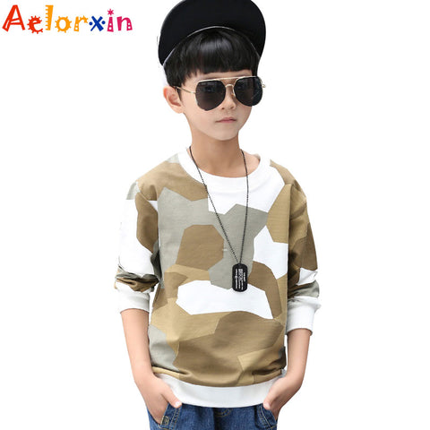 Boys T-shirts for Kids Cotton Tees for Boys Camouflage Tops Autumn Children O-neck Tshirts 4 8 10 12 Years Infant Boys T-shirts