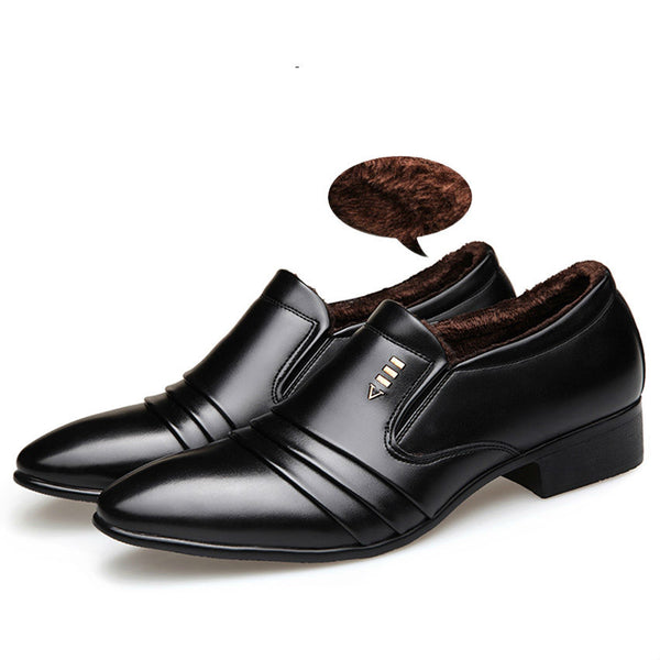 BIMUDUIYU Luxury brand PU Leather Fashion Men Business Dress Loafers Pointy Black Shoes Oxford Breathable Formal Wedding Shoes - MASTYLES ONLINE EXPRESS