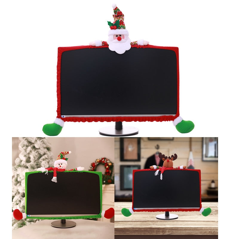 Christmas 19-27 inch Santa Claus Snowman Elk Christmas decorations for Computer set TV television display frame cover  30%off
