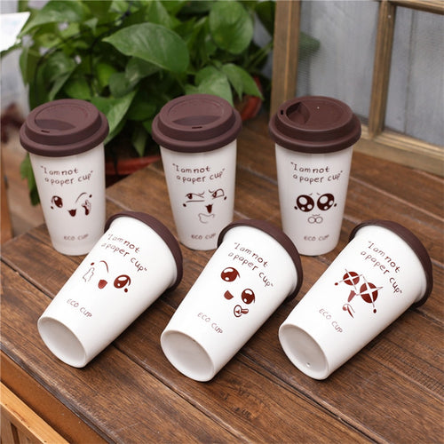 Creative Cute Expression Ceramic Mugs Water Container Cups And Mugs Porcelain Tea Cup Coffee Mug With Silicone Lid Mugs-010