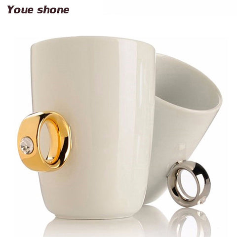 Creative Diamond Gold Silver Ring Coffee Mug Porcelain Breakfast Milk Cups For Lovers Couple Wedding Marry Gifts Cute Mugs