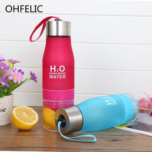 Creative Juice Infuser Water Fruit Bottle 650ml H2O Plastic Portable Lemon Juice Drink Bottle For Water Outdoor Shaker Sport