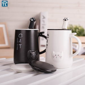 Cute Cat 400Ml Cafe Coffee Mug Drinking Cups Large Capacity Style Ceramic Milk Breakfast Mugs Water Tea Big Cup Drinkware