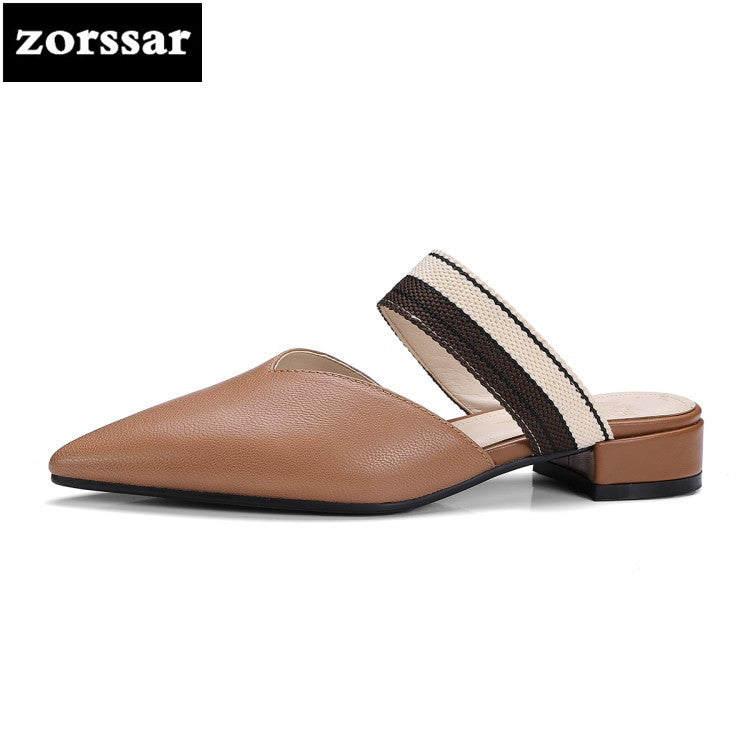 {Zorssar} big size 33-42 Summer women's sandals Fashion Real leather Womens flat heel slippers casual slip-on women flats shoes