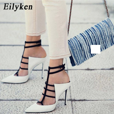 Eilyken Gladiator Women Pumps Fashion Buckle Strap Pointed Toe High Heels Lady White Wedding Shoes Thin Heels Sandal Autumn