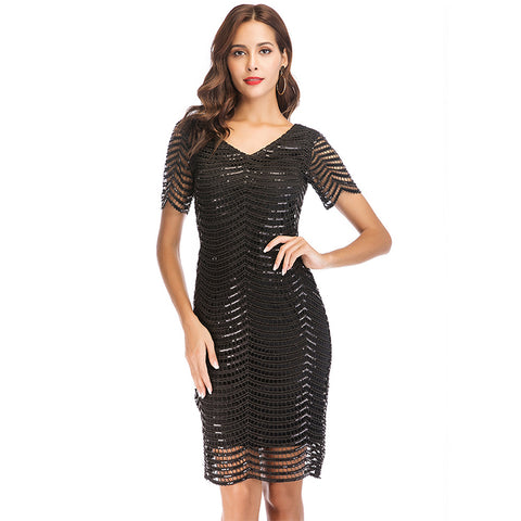 Elegant V Neck Back Zipper Up Party Wear Black Sequin Dresses Women Lady - Buy Dresses Women Lady,Women Dresses Party Wear,Black Dress Sexy Product on Alibaba.com