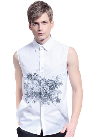 Fanzhuan Free shipping New male Summer casual fashion Men's sleeveless fake two pieces print 612061 shirt blouse 2016 white