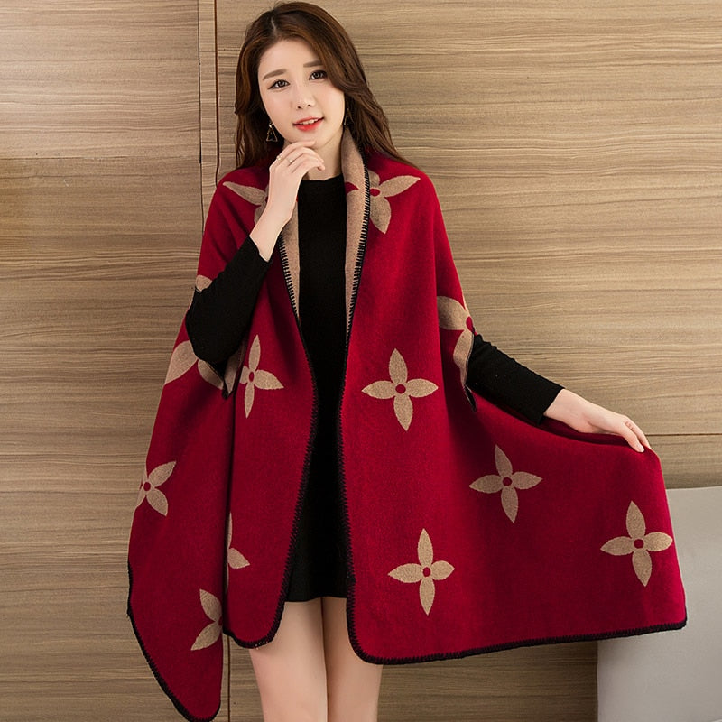 Fashionable Ladies Winter Scarf and Shawls Blanket Print Poncho Women Warm  Ponchos And Capes Long Scarf Thick Women Capes