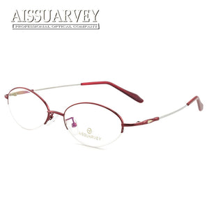 f0d6c82ea7 Flexible Round Metal Semi Rim Optical Eyeglasses Frames for Women Reading  Prescription Eye Wear Female Computer