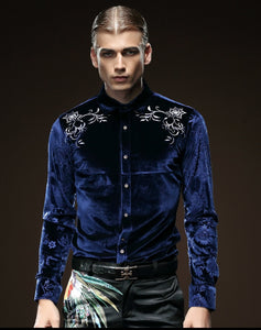 Free Shipping Fanzhuan New male fashion Men's man embroidered long sleeved solid color blue collar Slim blouse shirt 512058