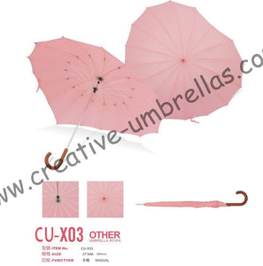 Free shipping by sea,16k Heart Shaped umbrellas,straight metal umbrellas.nickel plated shaft and fiberglass ribs,manual,OEM