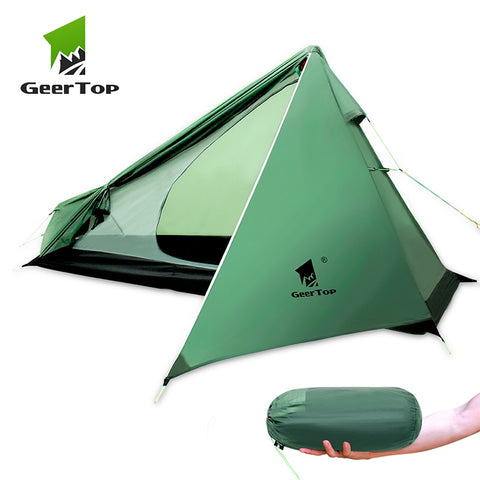 GeerTop Ultralight Camping Backpacking Tent One Person 3 Season Wateproof Lightweight Man Tent for Hiking Trekking Outdoor Three