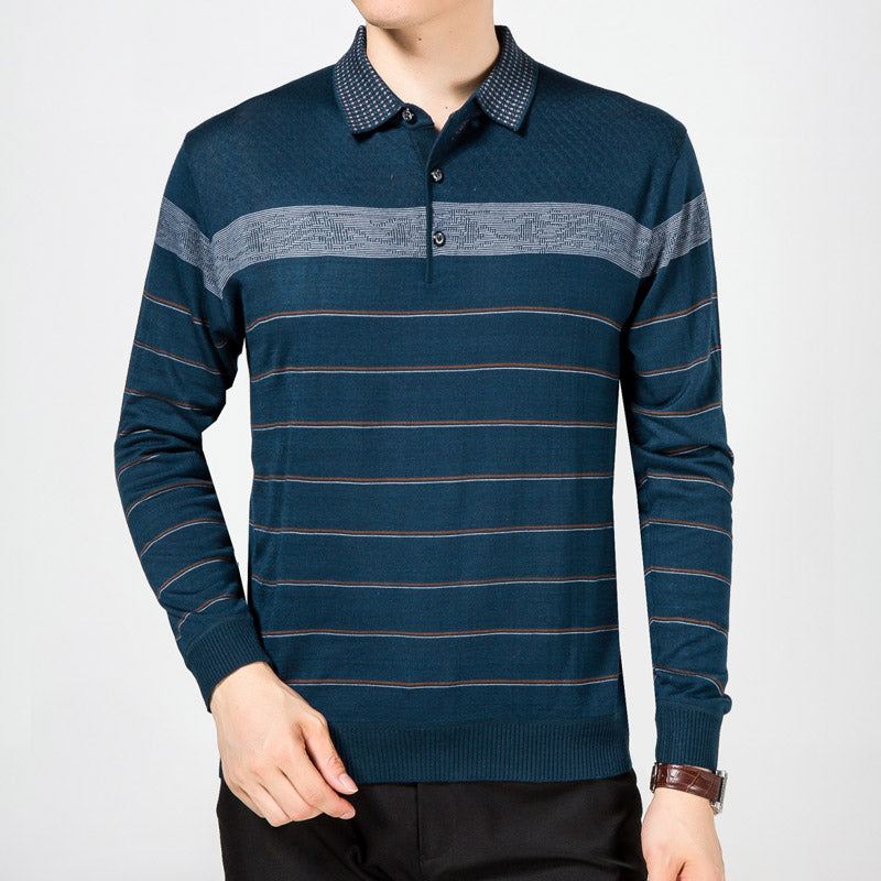 2018 casual long sleeve business mens shirts male striped fashion brand polo shirt designer men tenis polos camisa social 5158 - MASTYLES ONLINE EXPRESS