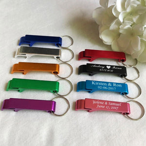 100pcs Personalized Engraved Bottle Opener Key Rings Wedding Name and Date Wedding Day Keepsake Customs Wedding Favor Gifts