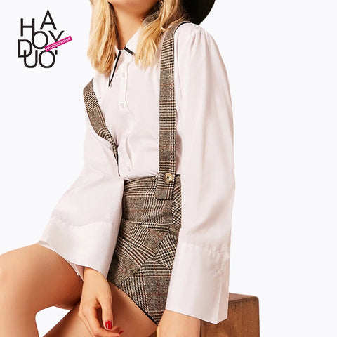 Haoduoyi spring autumn western style fashion slim patchwork plaid SML XL XXL woman's Casual cross suspender Skirts
