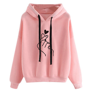 Harajuku Sweatshirts Hoodies Women 2019 Pink Love Heart Finger Print Hooded Drawstring Long Sleeve Spring Tracksuit Streetwear