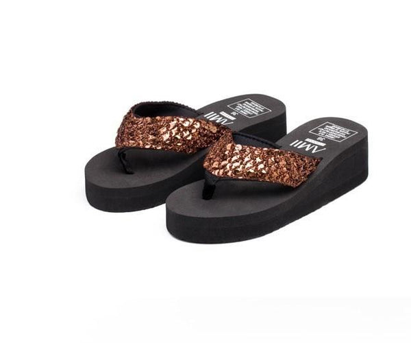 fashion women Flip Flops Mujer Women Sequins Sandals Beach Slippers Shoes Summer Sandals Flip Flops Lady Wedges Shoes