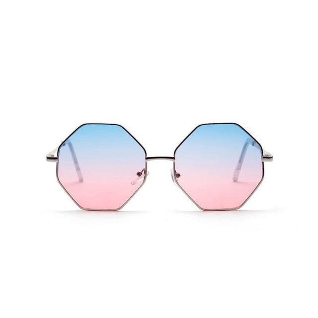 f58128e6e5d ... Hexagon Sunglasses Women Small Frame Polygon Sunglasses Men Blue Pink  Clear Lens Sun Glasses Female ...