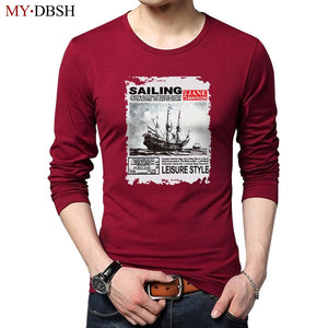 Hot Sale Men Long Sleeve T-shirts Clothes Autumn Young Fashion Sailboat Printing T Shirt Men Casual Cotton tshirts Male Camiseta