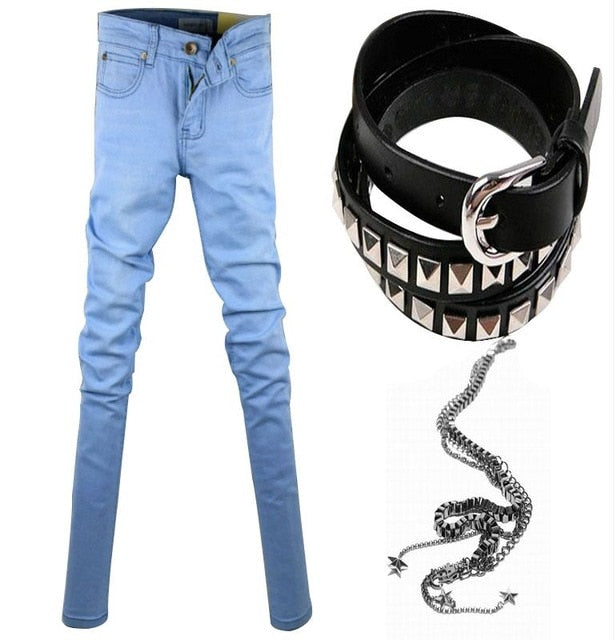 386e02d297c ... Hot Selling Mens Slim Fit Jeans Punk Cool Super Skinny Pants With Chain  For Male ...