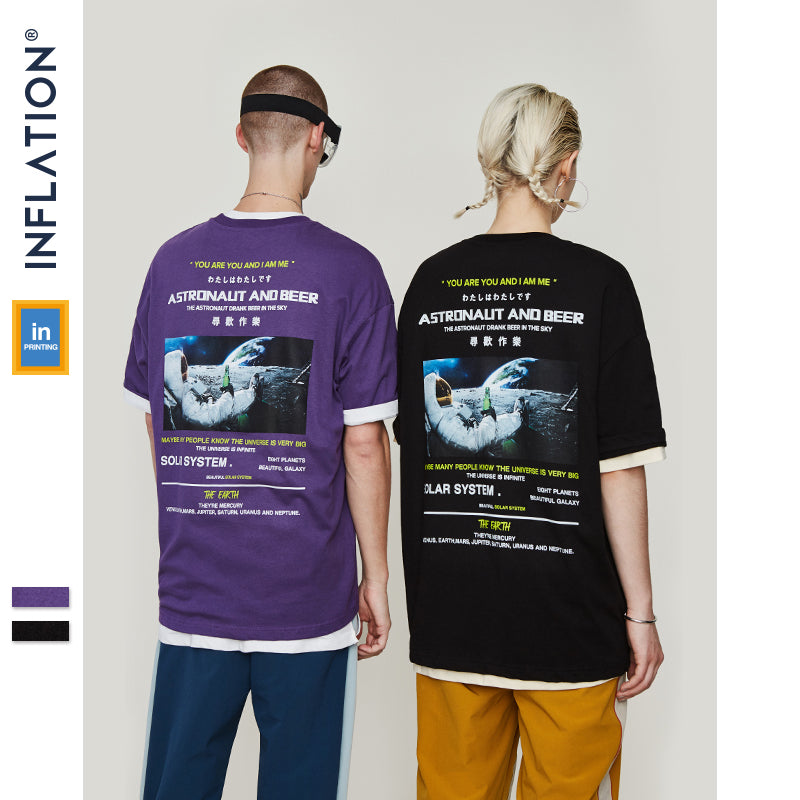 a6ee04790 INFLATION 2019 SS Collection New Arrivals Graphic Tees Loose T-shirt Men  Summer Black T ...