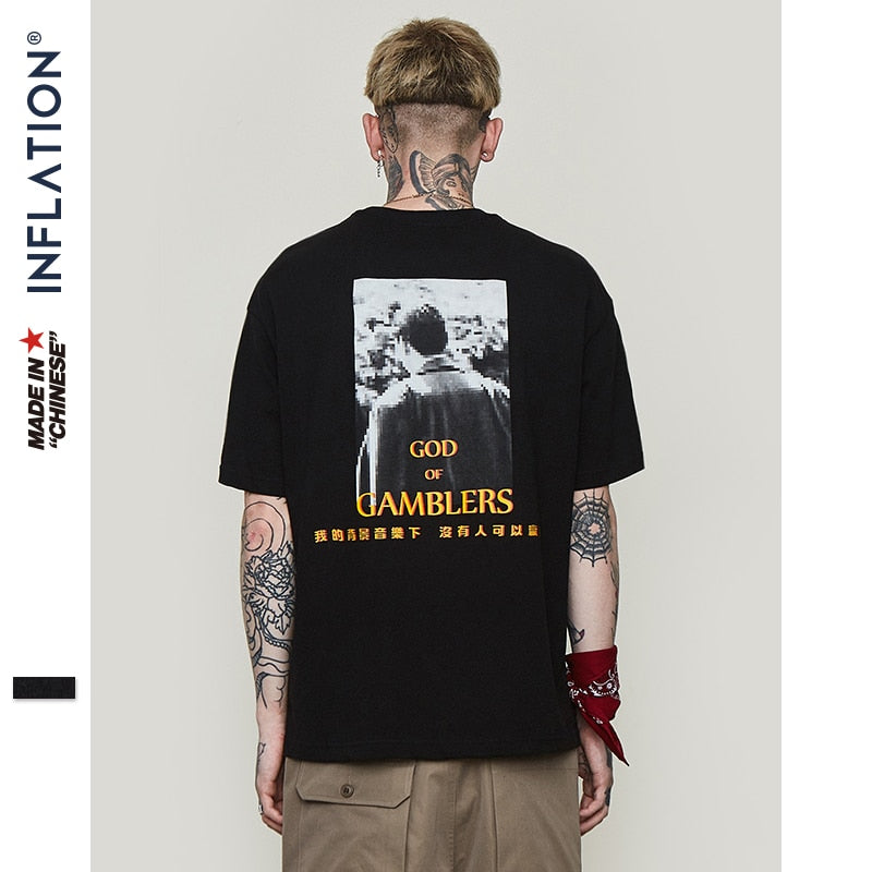 Inflation Creative Graphic Printed Short Sleeve T Shirt 2019 Hip Hop