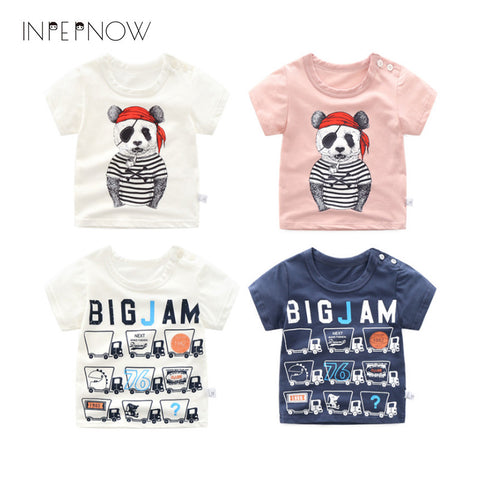 INPEPNOW Kids Cotton T Shirt Short Sleeve T-Shirts For Baby Boys Tshirts Clothes Summer Girls Tees 8/10/12/14 Years Teenage Tops