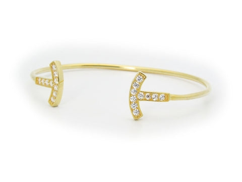 Open Wire Sparkling T Ends Bangle Bracelet in Gold