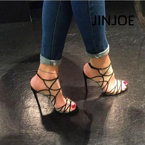 JINJOE Woman shoes Black Sexy hollowed out fashion high heel sandals Rome style Gladiator high heels Hasp  Perspective grid