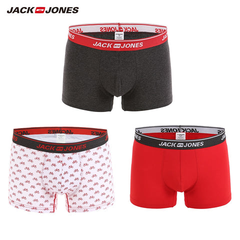 JackJones Men's Elastic Cotton Printed Boxer Shorts 3 Pcs/lot Breathable&Comfortable Men's Underwear 2018 New Brand 217392519
