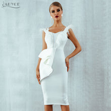 Load image into Gallery viewer, ADYCE 2018 New Summer Women Dress Black White Slash Neck Short Sleeve Feather Pearl Runway Celebrity Evening Party Dress Vestido