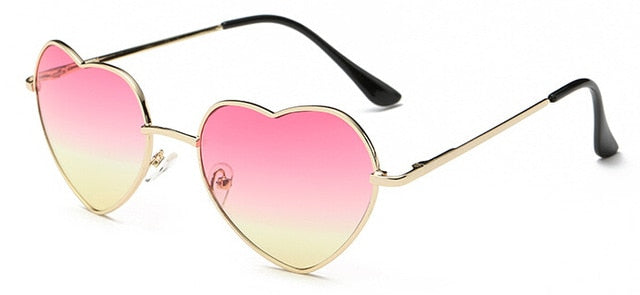 Ladies Heart Shaped Sunglasses metal Women Brand Designer Fashion Rimless LOVE Clear Ocean Lenses Sun Glasses Oculos UV400