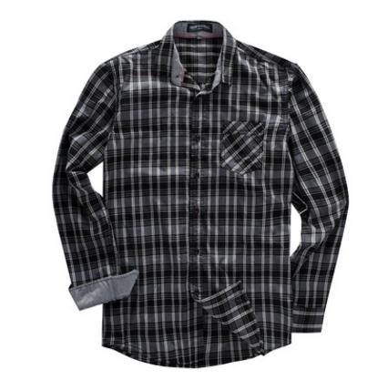 Large Size Male Pure Cotton Long-Sleeved Casual Plaid Shirts Camisa Masculina Black Blue Mens Blouses Tops Fredd Marshall K790