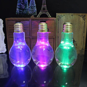 Luminous Lamp Beverage Light Bulb Shape Bottle 400ml Creative Juice Tea Drink Bulb Random