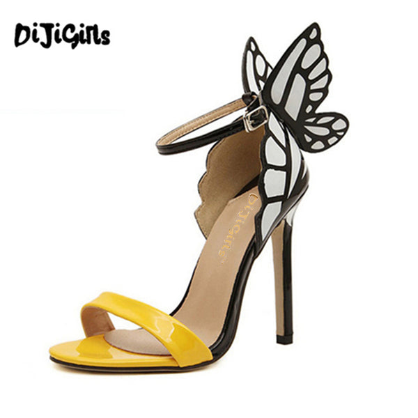 Jan2017 European Women personality wedding high heels Colorful butterfly heeled sandals pumps bow patry shoes woman bridal pumps