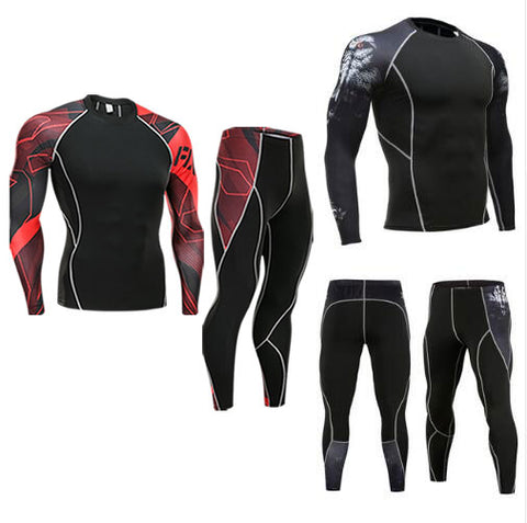 Men MMA COMPRESSION SUIT   fitness tracksuit clothing brand   3D printed crossfit T-Shirt leggings 2pc set thermal underwear 4XL