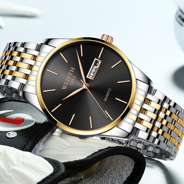 Men Watch 2018 Luxury Brand Stainless Steel Slim Waterproof Clock Fashion Analog Week Calendar Quartz Business Male Wristwatches
