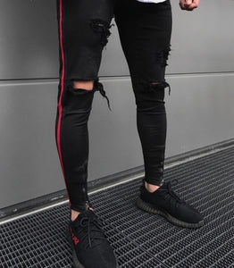 d344097f1390 Men denim ripped hole Jeans side striped line Jeans Fashion Hip hop Skinny  pencil Jeans For