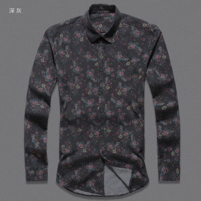 4a3d47db0 ... Men shirt Floral printing long sleeve shirts men clothes flowers printed  shirts vintage Linen Casual Men ...