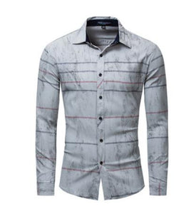 b273891e020 Mens Long Sleeves Casual Striped Office Shirts Large Size Male Single  Breasted Label Cotton Leisure Blouse