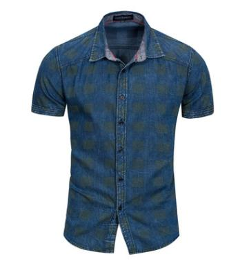 Mens Summer Short Sleeves Pure Cotton Shirts Casual Single Breasted Male Shirt Turn Down Collar Man Blouses Fredd Marshall J2398