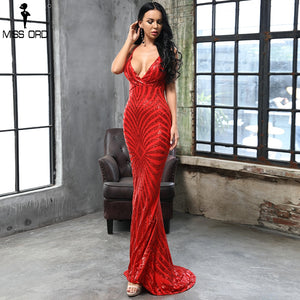 2797f0f1e23 Missord 2019 RED DEEP v neck Elegant Striped Backless Women Dresses Sequin  Bodycon Maxi Party Dress