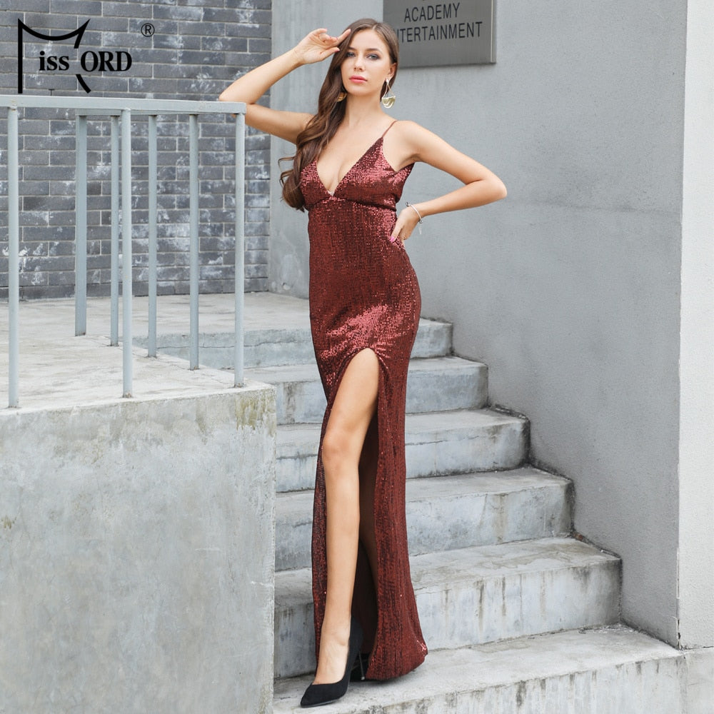 Missord 2019 Sexy Deep V Off Shoulder Sequin High Split Summer Dresses  Backless Maxi Party Spaghetti ... 99b81013a383