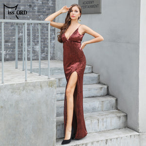 Missord 2019 Sexy Deep V Off Shoulder Sequin High Split Summer Dresses  Backless Maxi Party Spaghetti fd1a0dfc3