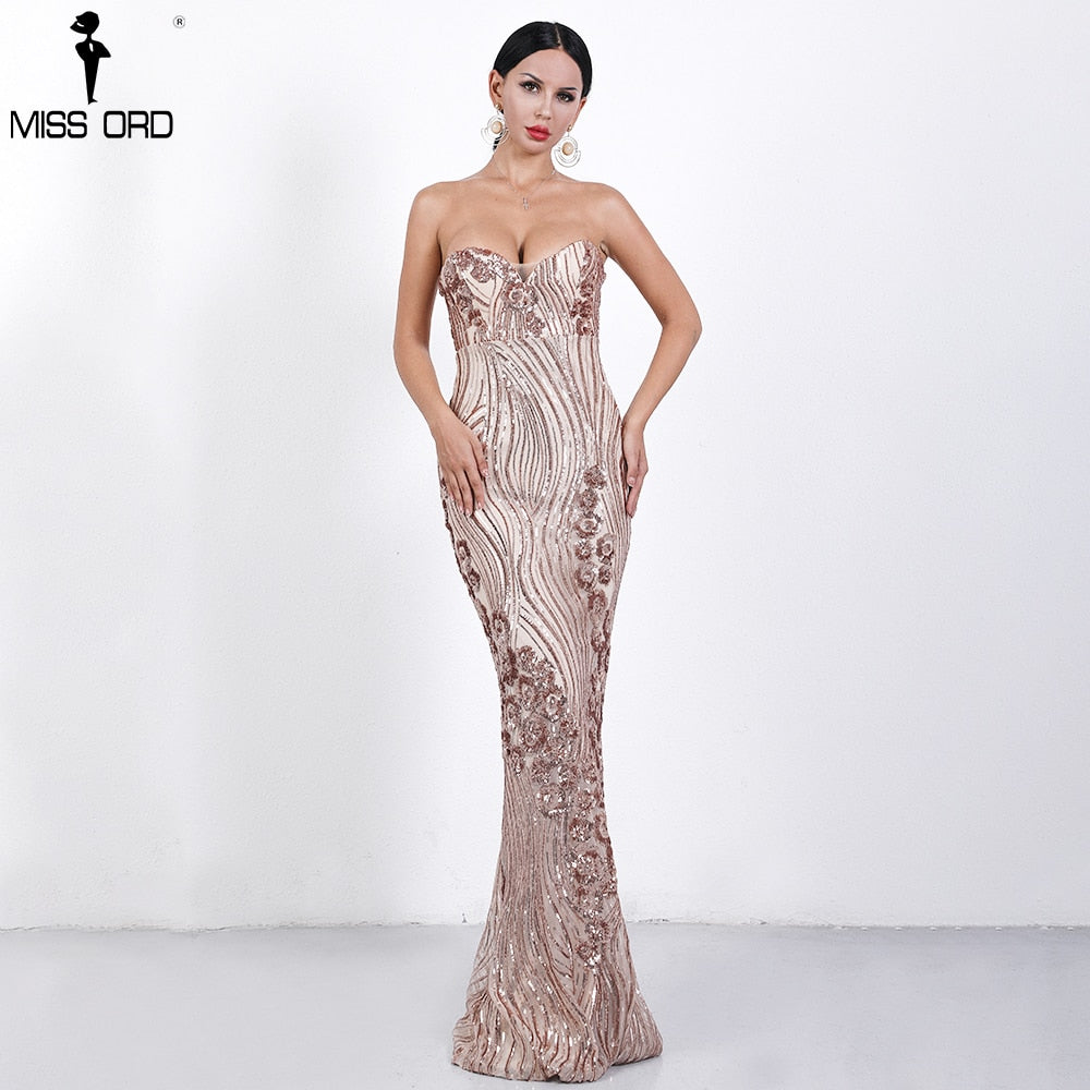 ... Missord 2019 Sexy Spring and Summer Off Shoulder Sequin Dresses Female  Backless Elegant Maxi Dress Vestdios b3e88dae7477