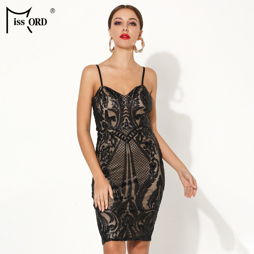 Missord 2019 Sexy V Neck Off Shoulder Backless Sequin Bodycon Dresses  Female Elegant Party Mini Dress ... 25028fe6a795